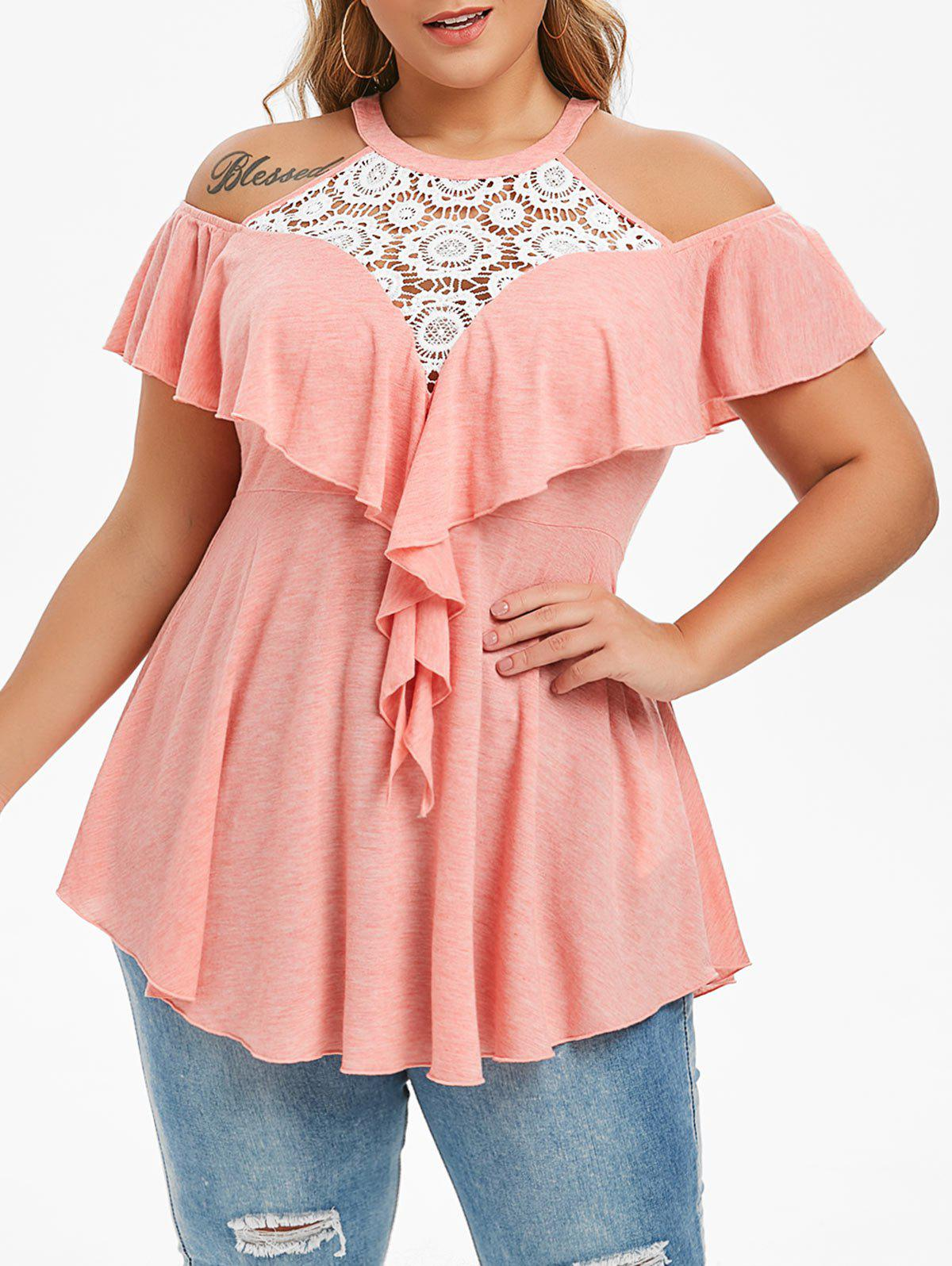 Shops Plus Size Lace Panel Ruffle Open Shoulder T-shirt