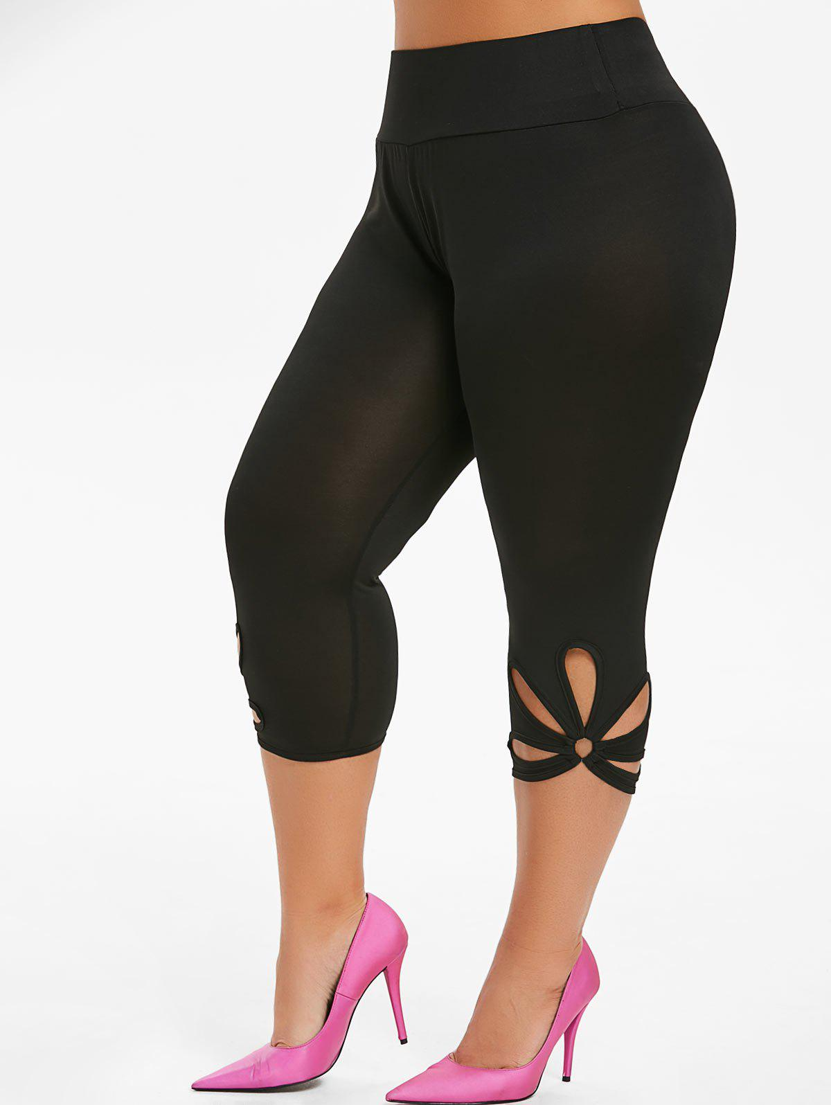 Sale Capri Metal Ring Cut Out Plus Size Leggings
