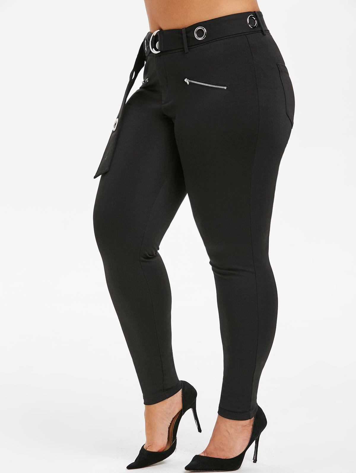 Discount Plus Size High Rise O Ring Pants