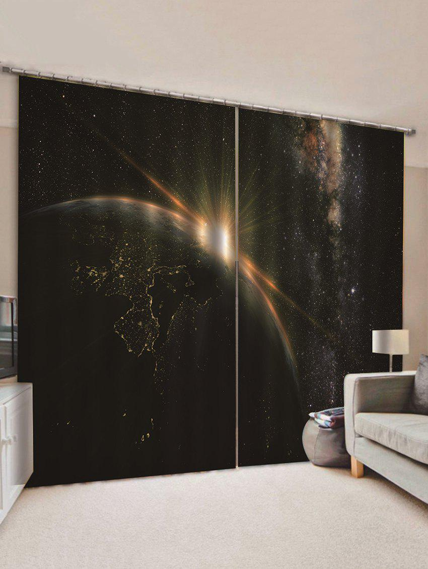 Store 2 Panels Galaxy Planet Print Window Curtains