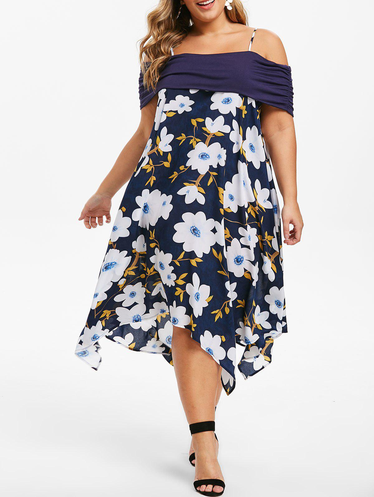 Discount Plus Size Open Shoulder Floral Handkerchief Midi Dress