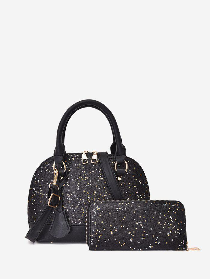 Affordable Glitter Two-piece Shell Tote Bag Set