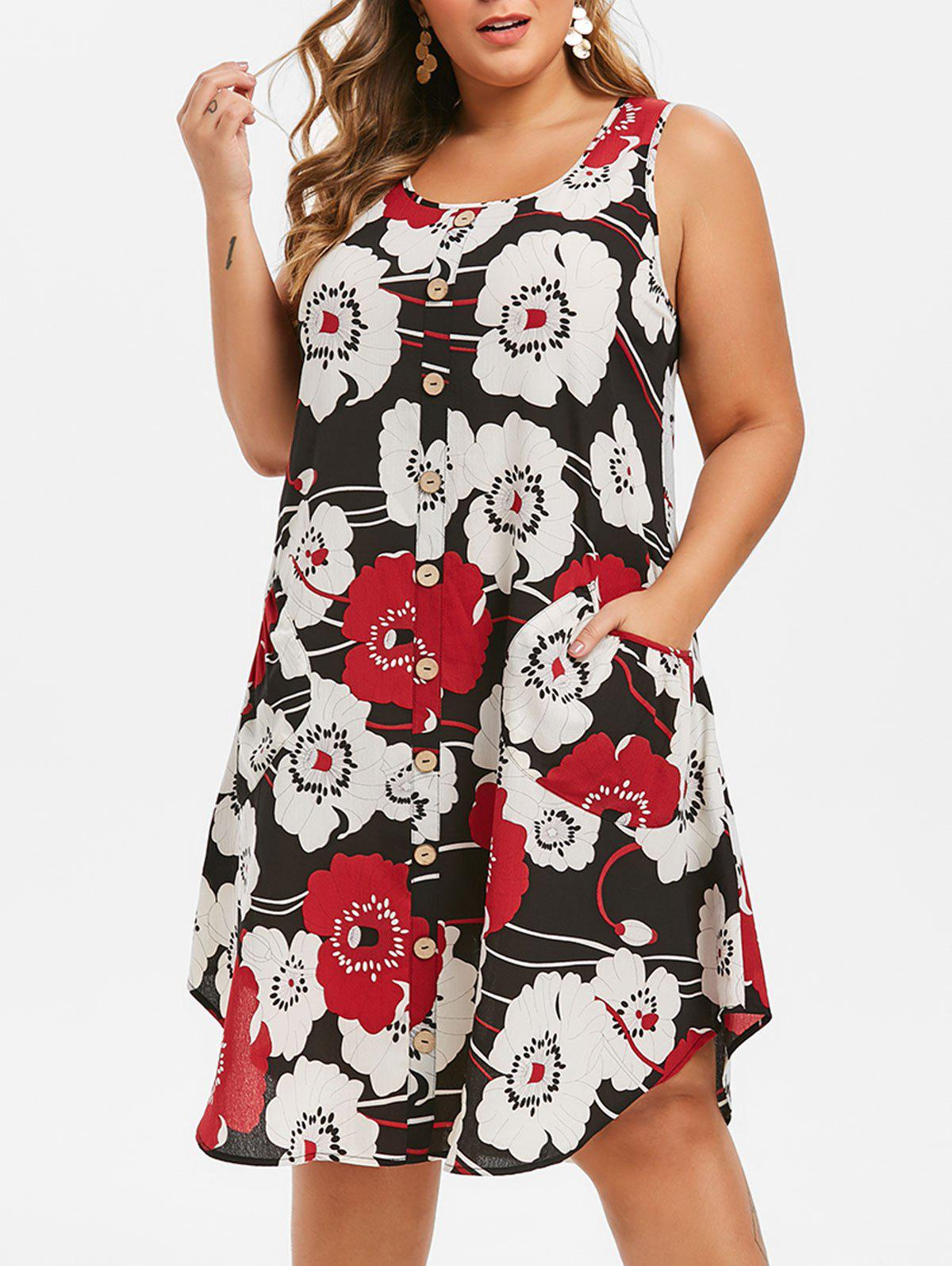 Fashion Plus Size Floral Print Swing Dress