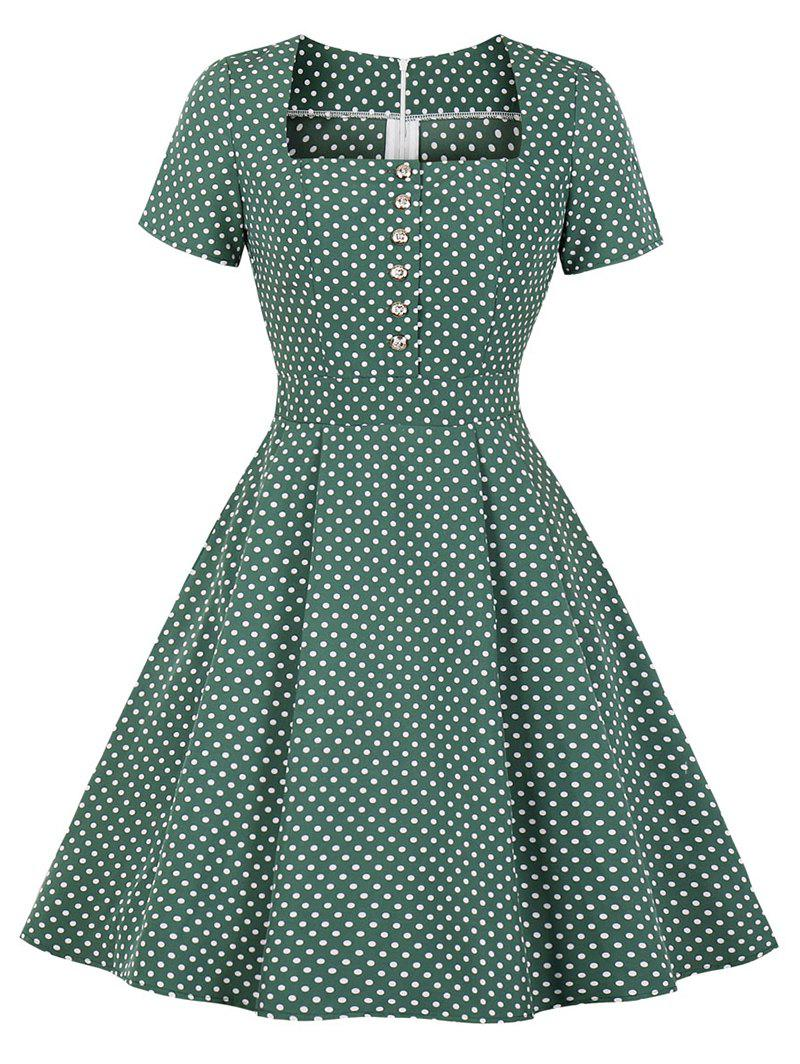Fashion Square Collar Placket Polka Dot Retro Dress