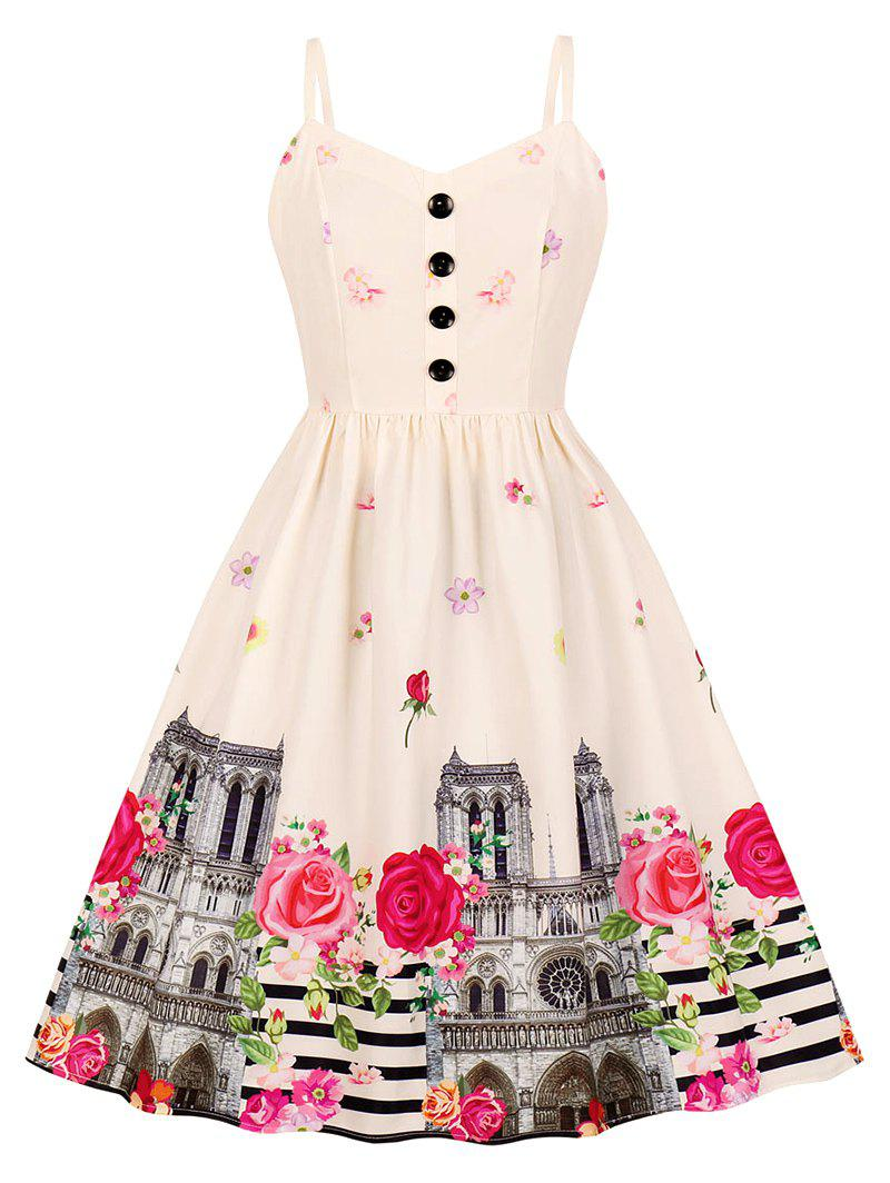 Fashion Button Floral Building Print A Line Dress