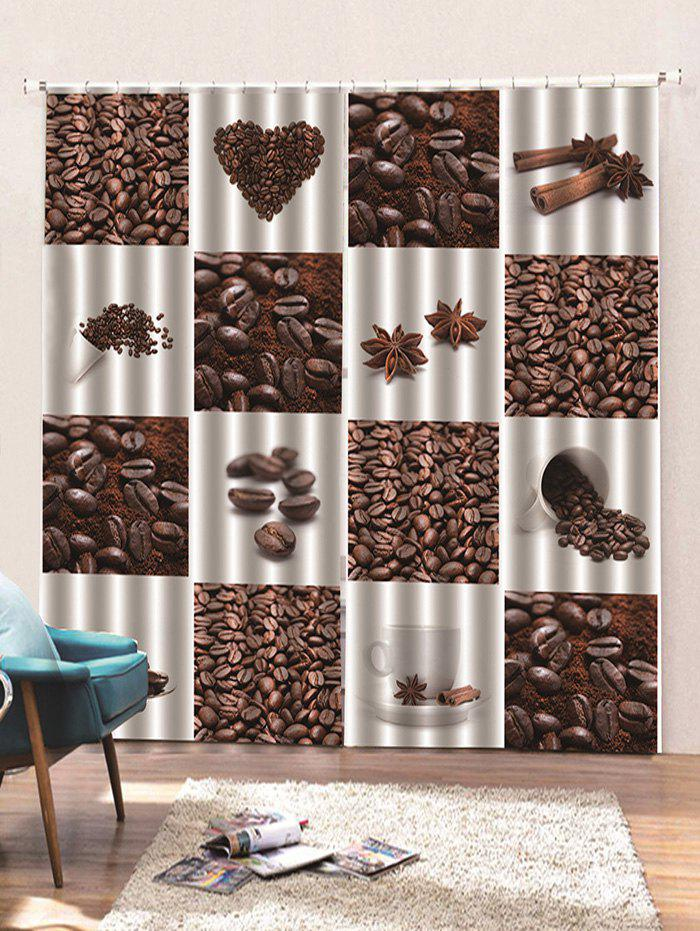 Fashion 2 Panels Coffee Bean Print Window Curtains