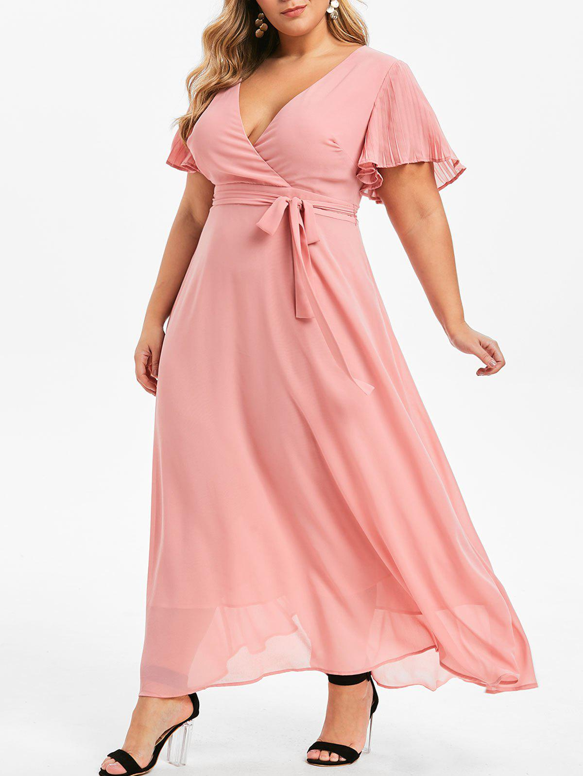 43% OFF] Plus Size Plunging Neckline Maxi A Line Dress | Rosegal