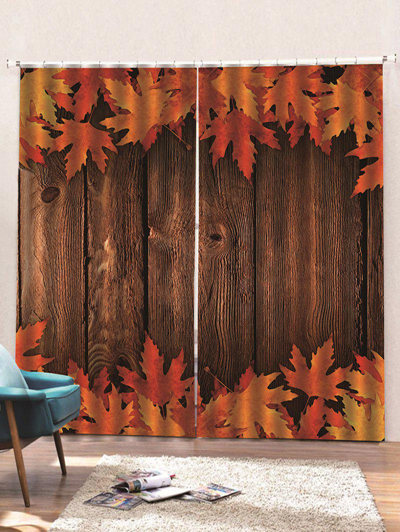 Affordable 2 Panels Wooden Board Maple Leaves Print Window Curtains