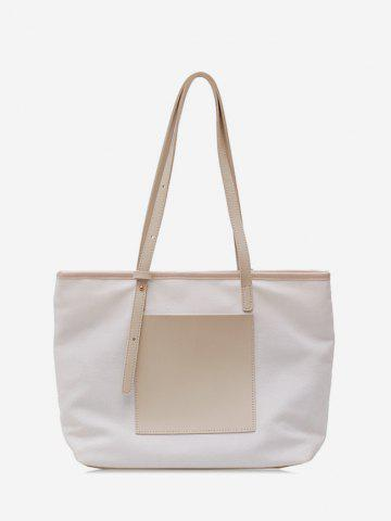 Canvas Color Block Zipper Shoulder Bag