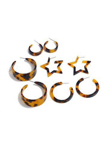 Leopard Printed Circle Star Earring Set