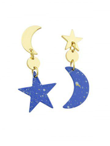 Asymmetric Moon and Star Drop Earrings