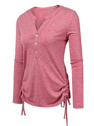 Plus Size Cinched Half Button Tee