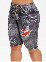 Knee Length High Waisted American Flag Plus Size Shorts -