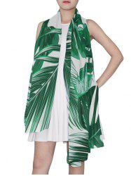 Leaf Print Long Scarf -