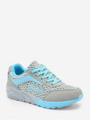 Mesh Breathable Lace Up Color Block Sneakers -