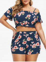Plus Size Cold Shoulder Floral Two Piece Outfits -