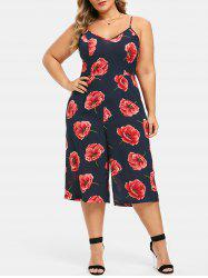 Plus Size Cut Out  Floral Cami Capri Palazzo Jumpsuit -