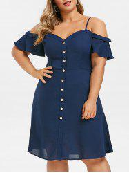 Plus Size Button Up Open Shoulder Cami Dress -