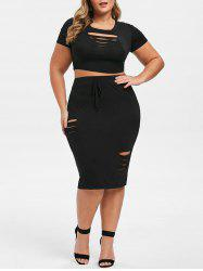 Plus Size Ripped Two Piece Bodycon Dress -