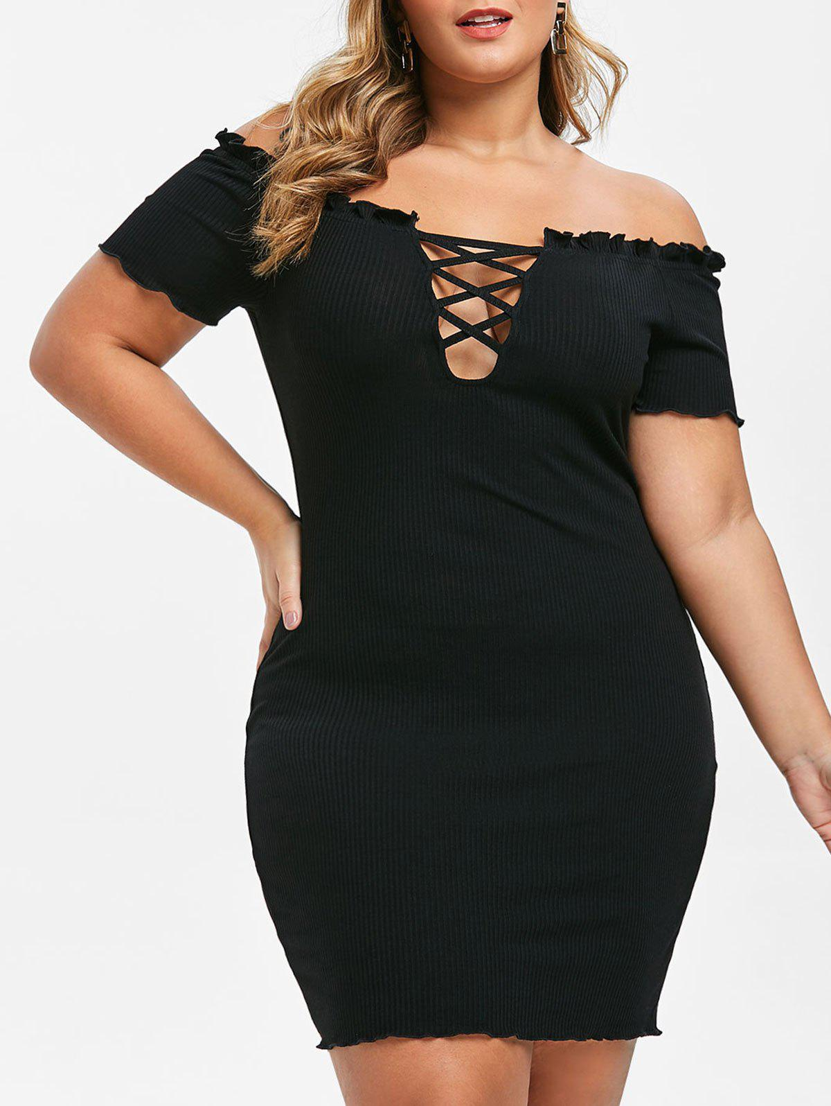 Cheap Plus Size Ribbed Off Shoulder Criss Cross Bodycon Mini Dress