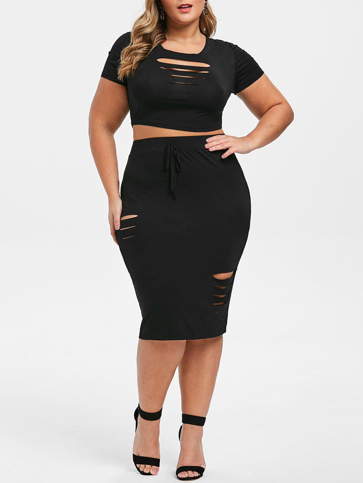 Chic Plus Size Ripped Two Piece Bodycon Dress