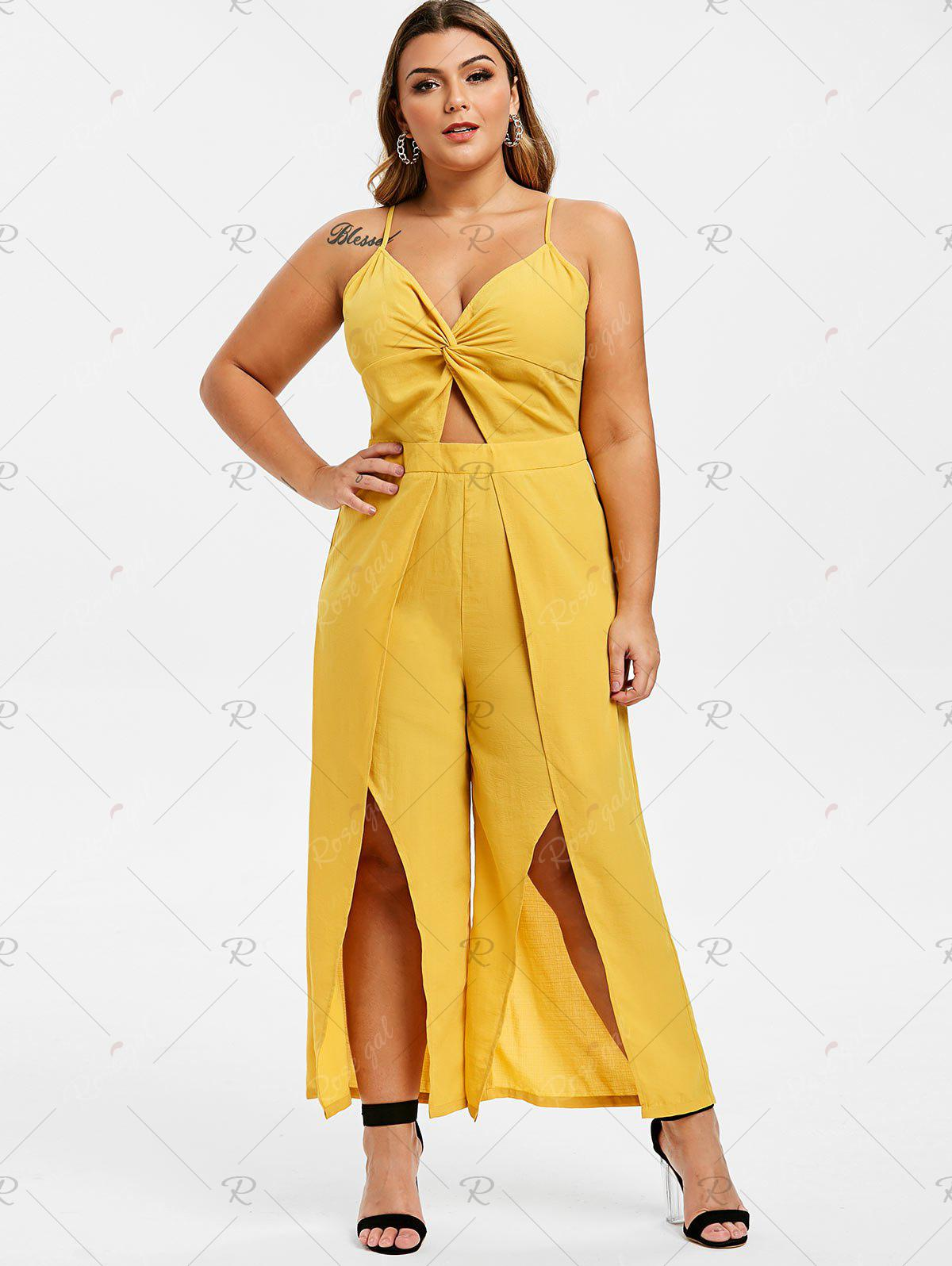 Plus Size Front Twist Split Cut Out Palazzo Jumpsuit - 3x