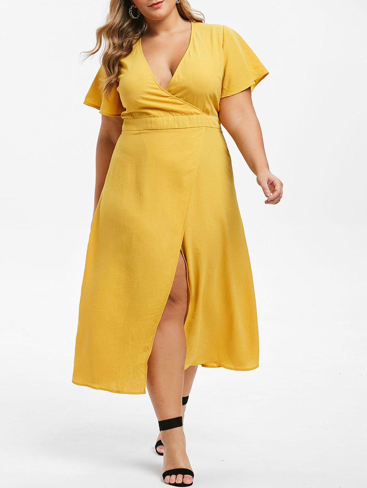Trendy Plus Size Plunging Neck High Slit Maxi Dress