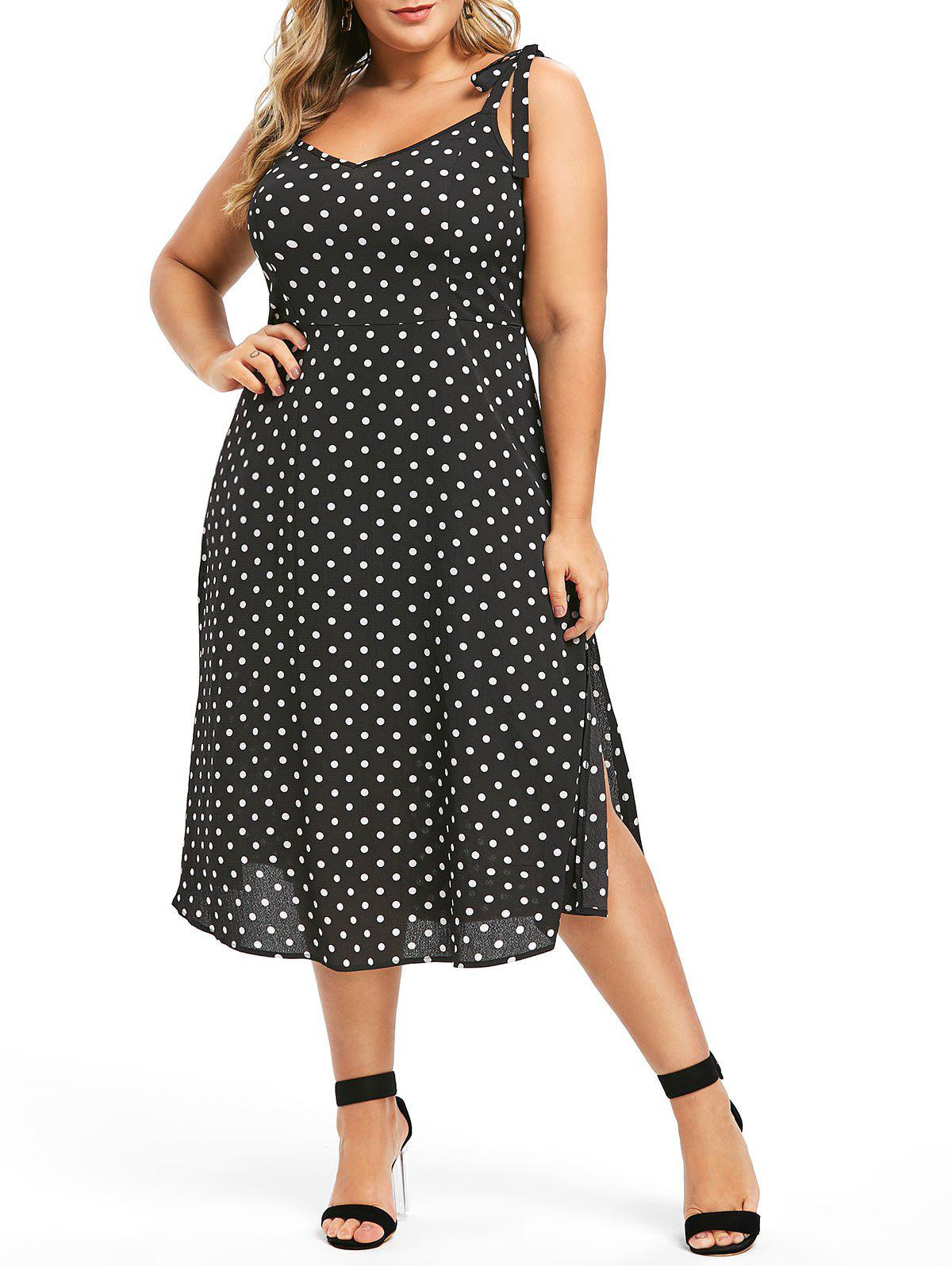 Plus Size Tie Shoulder Polka Dot Midi Slit Dress - 1x