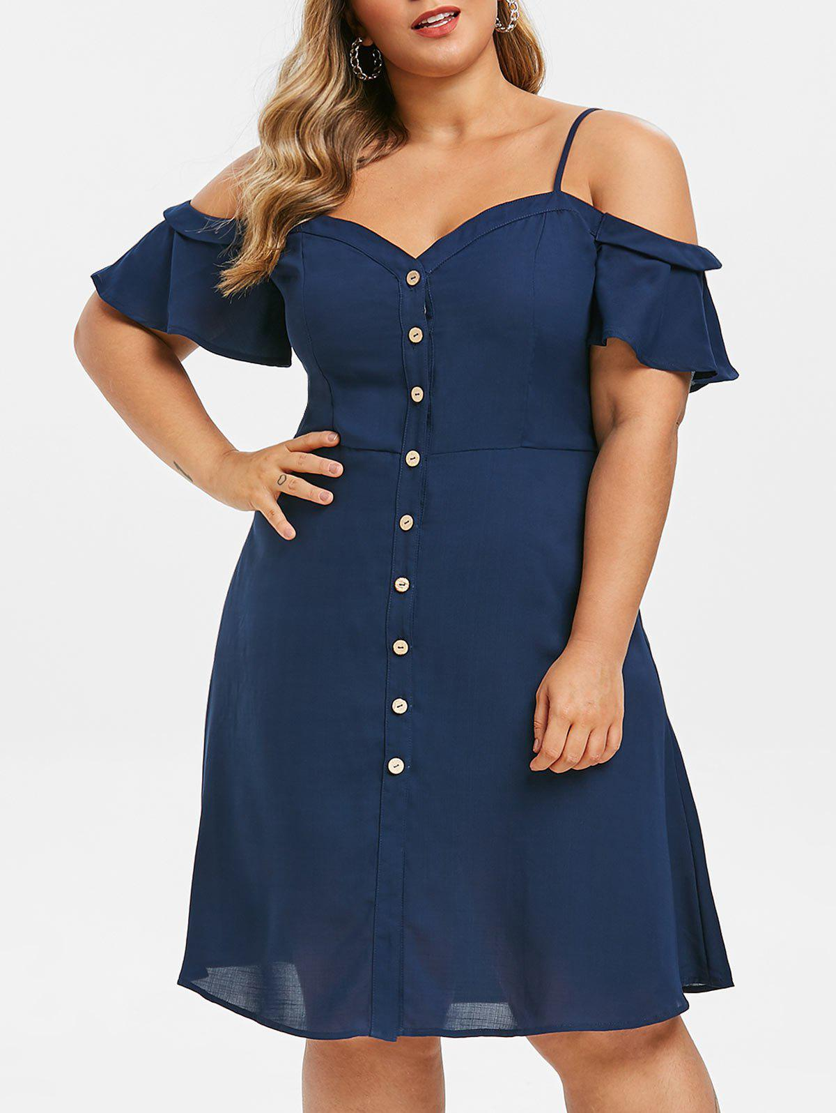 Hot Plus Size Button Up Open Shoulder Cami Dress