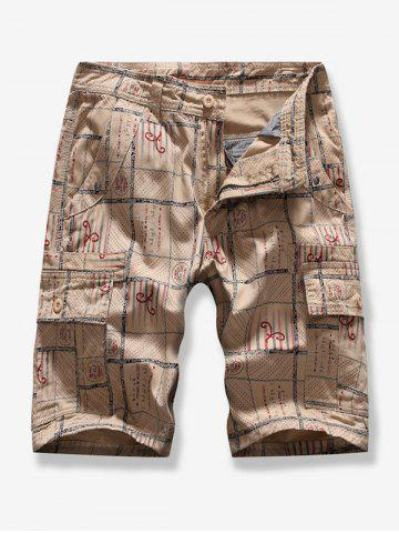 Geometric Printed Casual Cargo Shorts