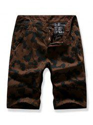 Zipper Fly Camouflage Printed Cargo Shorts -