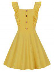 Square Collar Ruffle Button Skater Dress -