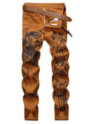 Bamboo Printed Zip Fly Casual Jeans -