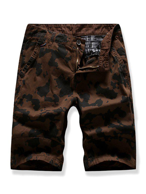 Buy Zipper Fly Camouflage Printed Cargo Shorts