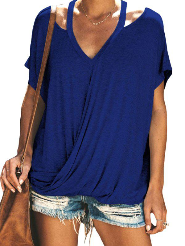 Trendy Solid Color Cutout Drape Tee