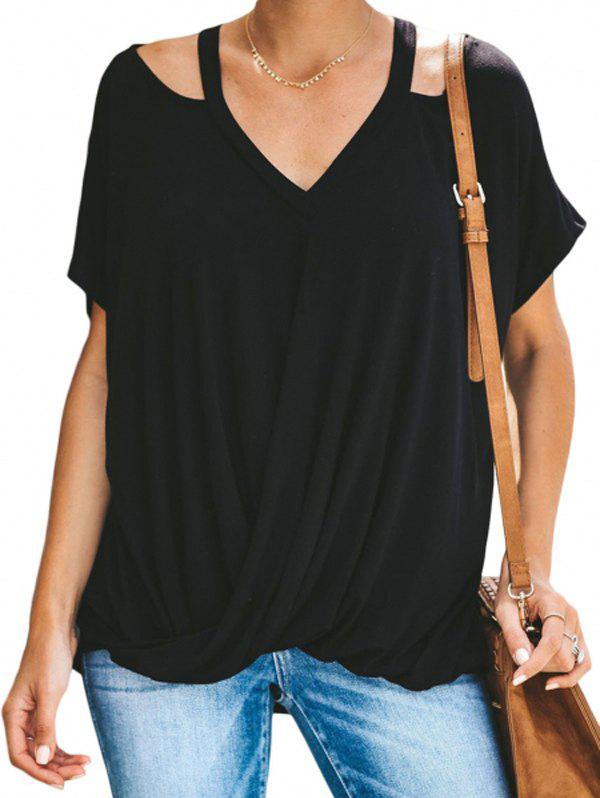 Discount Solid Color Cutout Drape Tee