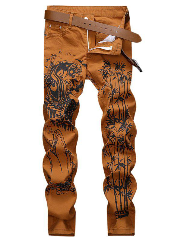 Store Bamboo Printed Zip Fly Casual Jeans