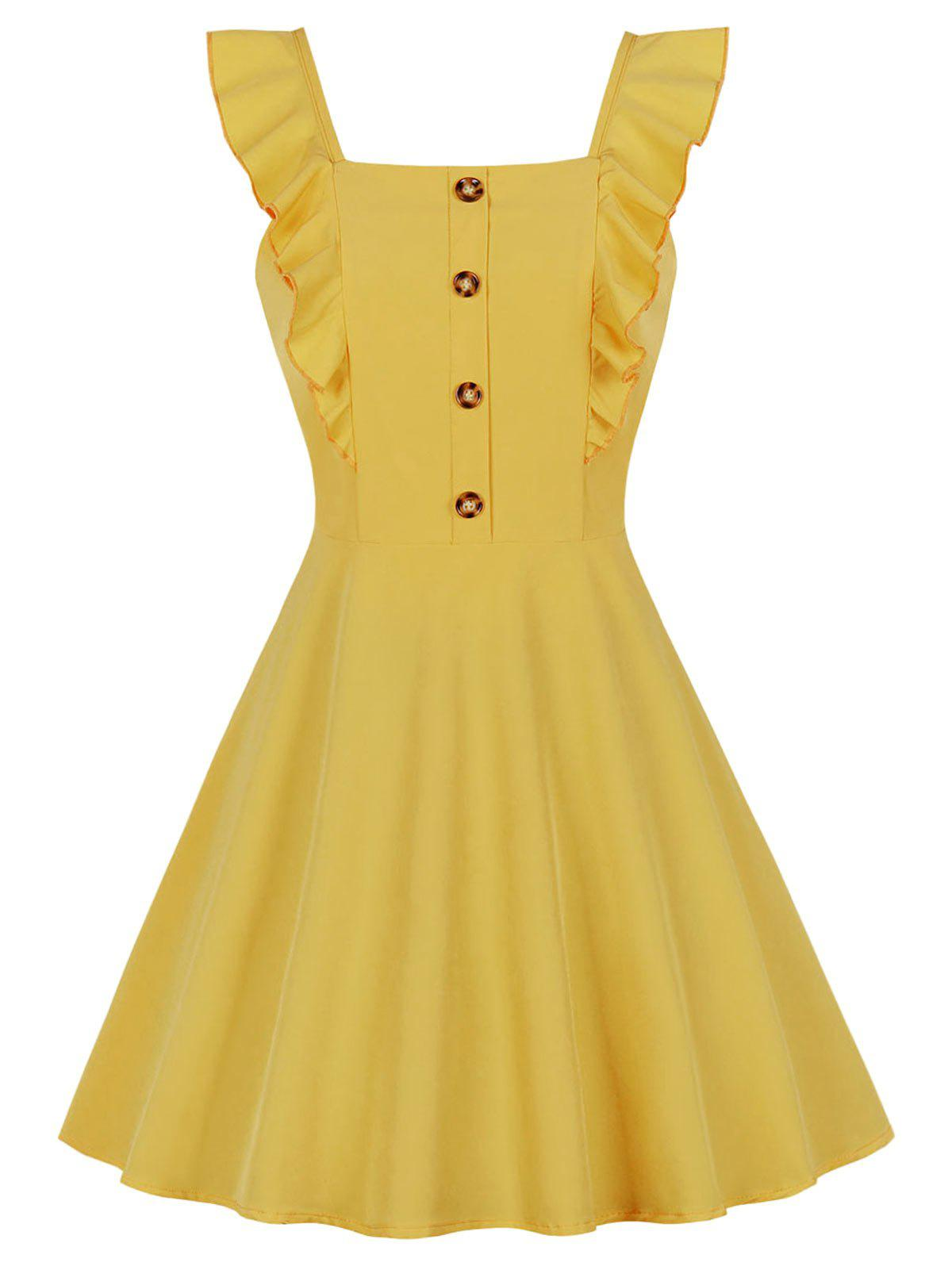 Latest Square Collar Ruffle Button Skater Dress