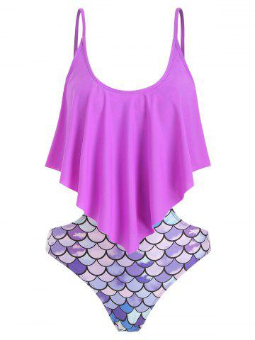 Fish Scale Print Padded Monokini Swimsuit