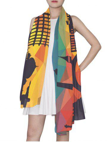 Geometric Architecture Printed Long Scarf
