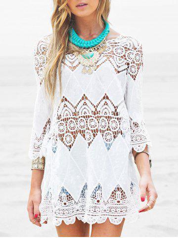 Crochet Crinkle Scalloped Beach Cover Up