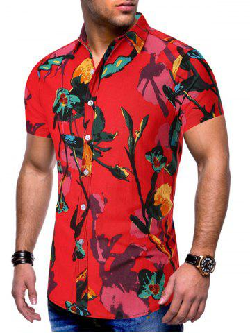 Floral Printed Leisure Style Short Sleeves Shirt