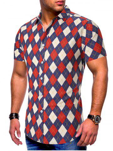 Argyle Pattern Short Sleeves Shirt
