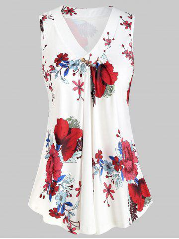 Plus Size Floral Print Flare Tank Top