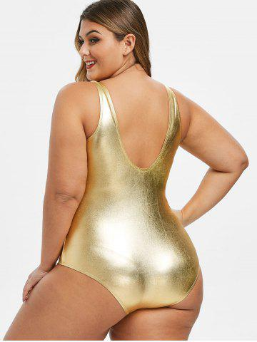low cost hot-selling official classic fit Plus Size Metallic Shiny One-piece Swimwear, Gold - rosegal ...