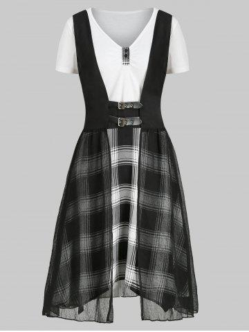 Plaid V Neck Dress with Crinkle Tank Top