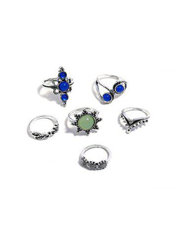 6Pcs Faux Crystal Sunflower Ring Set
