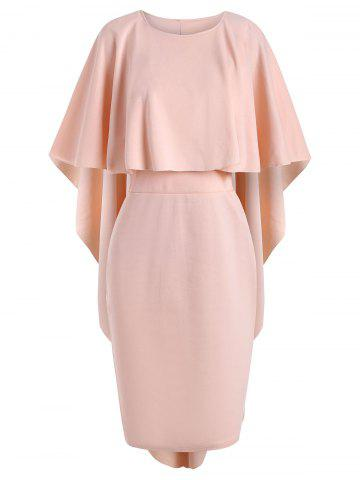 Solid Color Knee Length Cape Dress