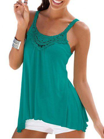 Guipure Lace Panel Casual Tunic Tank Top