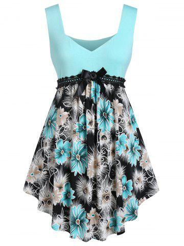 Plus Size Floral Sweetheart Neck Curved Long Tank Top